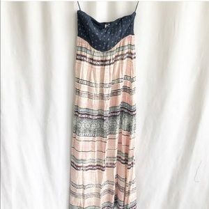 Roxy strapless multi print maxi dress